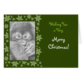 Cartão de Natal do orangotango do bebê