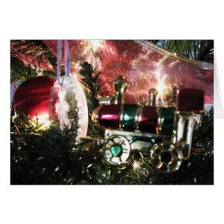 Cartão de Natal do ornamento do motor de vapor