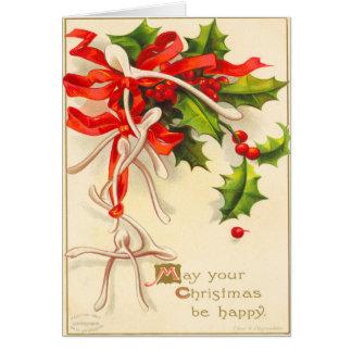 Cartão de Natal do osso do desejo do Victorian