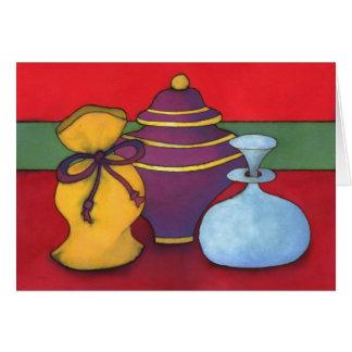 Cartão de Natal do ouro, do Frankincense & da