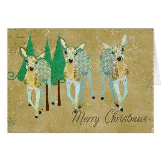 Cartão de Natal do ouro & dos cervos do verde o ma