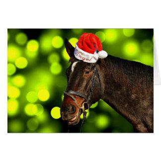 Cartão de Natal do papai noel do cavalo