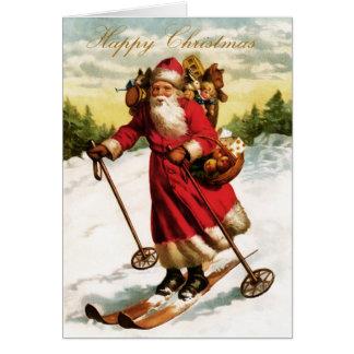 Cartão de Natal do papai noel do vintage
