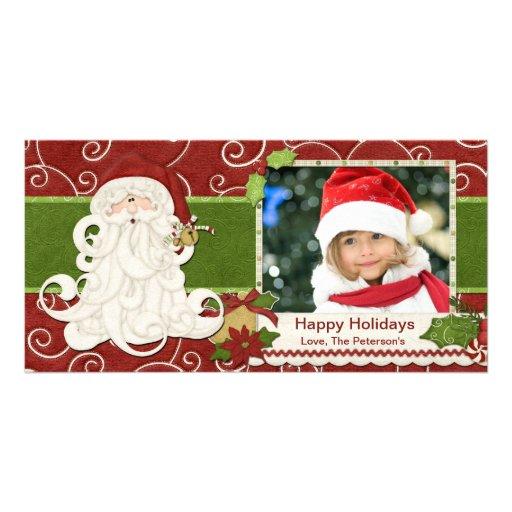 Cartão de Natal do papai noel do vintage Cartões Com Foto