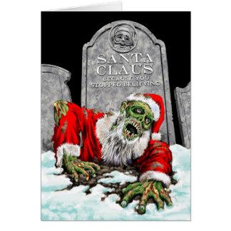 Cartão de Natal do papai noel do zombi (interior