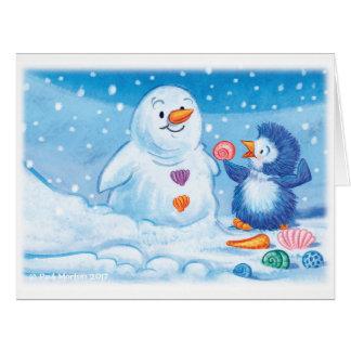 Cartão de Natal do pinguim & do boneco de neve