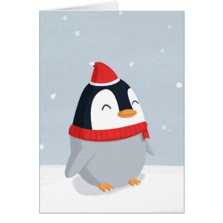 Cartão de Natal do pinguim do Natal