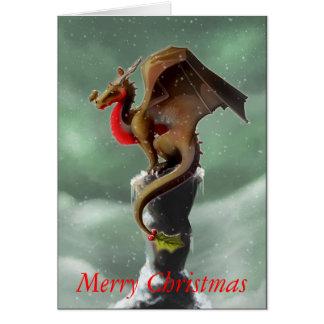 Cartão de Natal do pisco de peito vermelho do