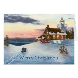 Cartão de Natal do por do sol do Polaris