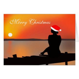 Cartão de Natal do por do sol do verão