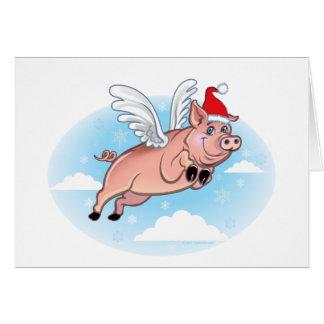 Cartão de Natal do porco do vôo