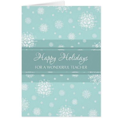 Cartão de Natal do professor da neve da cerceta bo