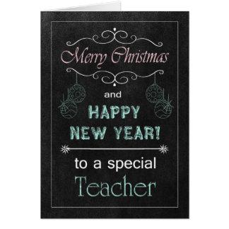 Cartão de Natal do professor do quadro