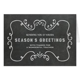 Cartão de Natal do professor do quadro do vintage
