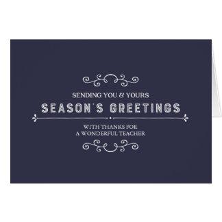 Cartão de Natal do professor dos azuis marinhos do