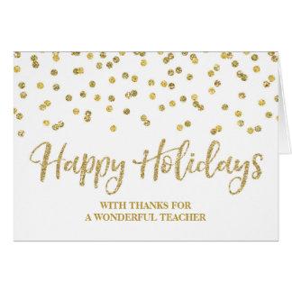 Cartão de Natal do professor dos confetes do ouro
