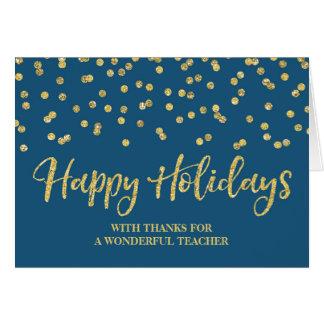 Cartão de Natal do professor dos confetes dos