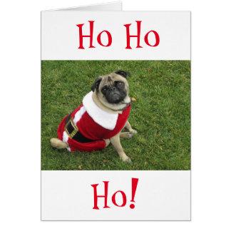 Cartão de Natal do Pug de HoHoHo