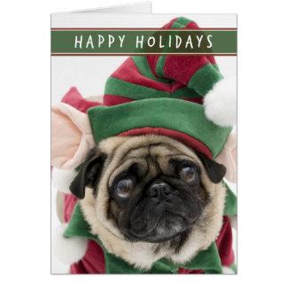 Cartão de Natal do Pug do duende