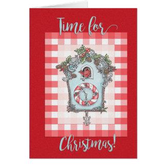 Cartão de Natal do pulso de disparo de cuco