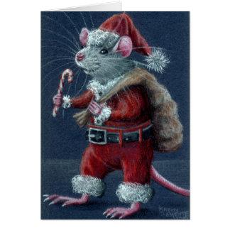 Cartão de Natal do rato do papai noel