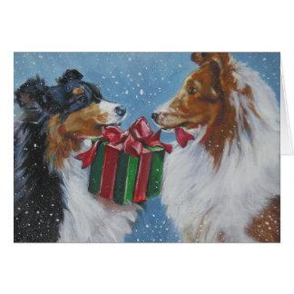 Cartão de Natal do Sheepdog de Shetland