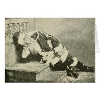 Cartão de Natal do sono Papai Noel do vintage