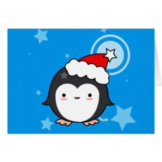 Cartão de Natal do sopro do pinguim