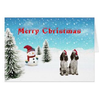 Cartão de Natal do Spaniel de Springer inglês