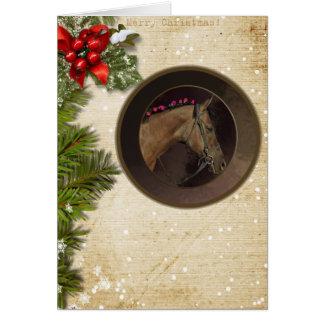 Cartão de Natal do tema do cavalo & envelope
