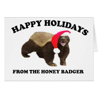 Cartão de Natal do texugo de mel
