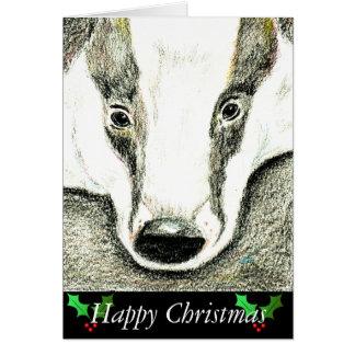 Cartão de Natal do texugo (JZH10)