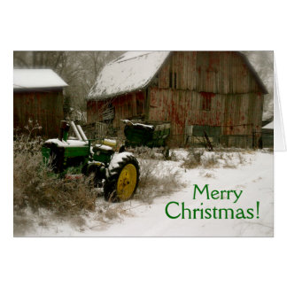 Cartão de Natal do trator: Trator & carro