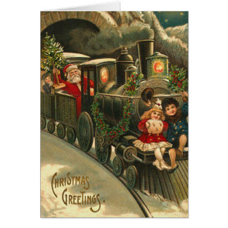 Cartão de Natal do trem do papai noel do vintage