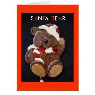 Cartão de Natal do URSO do PAPAI NOEL - rocha