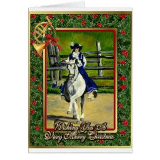Cartão de Natal do vazio do cavalo do adestramento