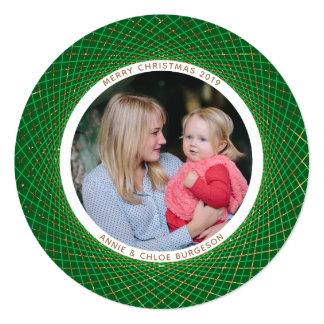 Cartão de Natal do verde do Spirograph do brilho
