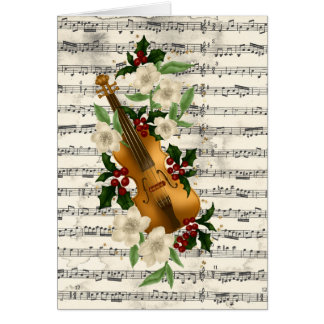 Cartão de Natal do violino na folha de música