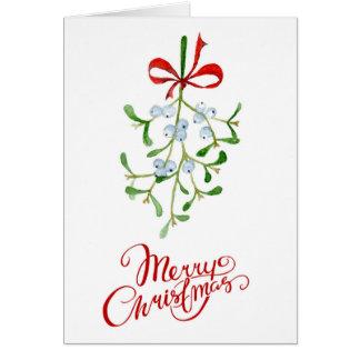 Cartão de Natal do visco no Watercolour
