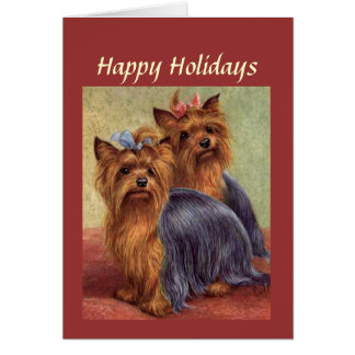 Cartão de Natal do yorkshire terrier