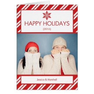 Cartão de Natal dobrado foto do bastão de doces