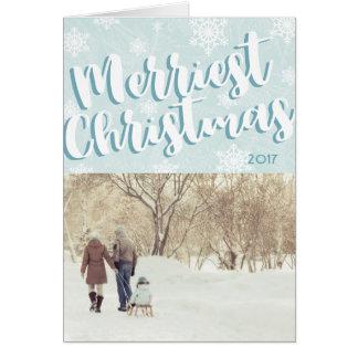 Cartão de Natal dobrado o mais alegre simples