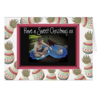 Cartão de Natal doce da foto de família com