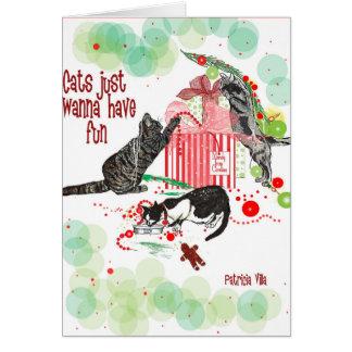 cartão de Natal dos amantes dos gatos