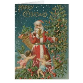 Cartão de Natal dos anjos do papai noel do