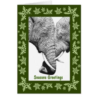 Cartão de Natal dos elefantes africanos