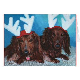Cartão de Natal dos pares de Doxie do Dachshund