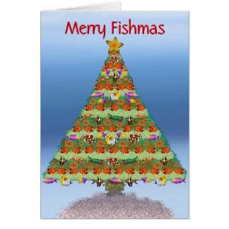 Cartão de Natal dos peixes do aquário do recife da