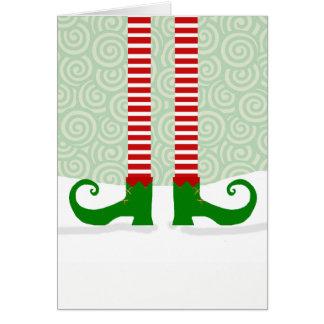 Cartão de Natal dos pés do duende