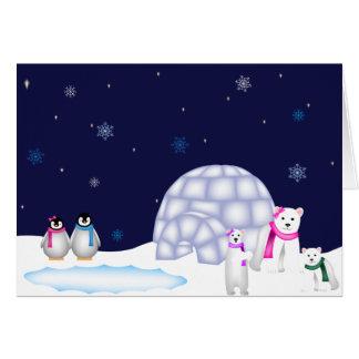 Cartão de Natal dos pinguins e dos ursos polares